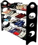 Rolgo1, 4 Layer Foldable Shoe Rack | for 12 Shoe Pairs (Plastic, Black)