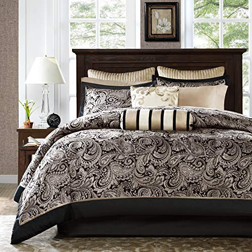 Madison Park Aubrey King Size Bed Comforter Set Bed In A Bag - Black, Champagne , Paisley Jacquard - 12 Pieces Bedding Sets - Ultra Soft Microfiber Bedroom Comforters