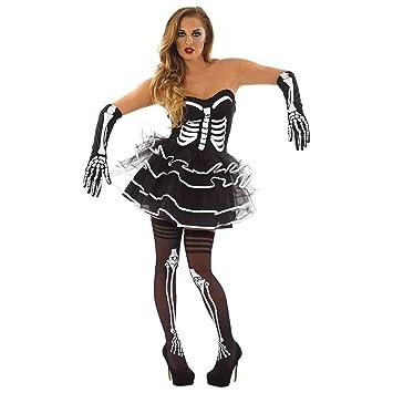 Fun Shack Negra Esqueleto con Tutú Disfraz para Mujeres - S ...