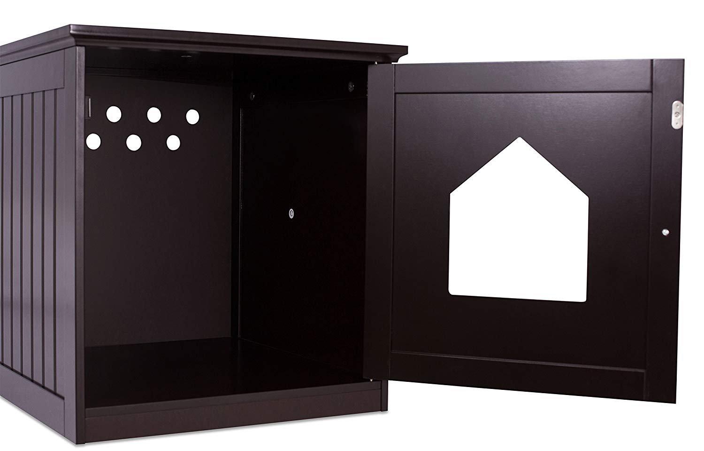 Casa para gato y mesa auxiliar, 2 en 1, 49 x 51 x 51 cm, madera, con arenero