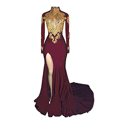 0747d9f704 Veilace Women s Mermaid High Neck Prom Dress 2018 New Gold Appliques ...