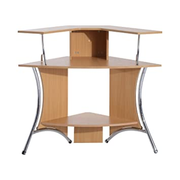homcom 48u201d corner computer desk with hutch natural wood