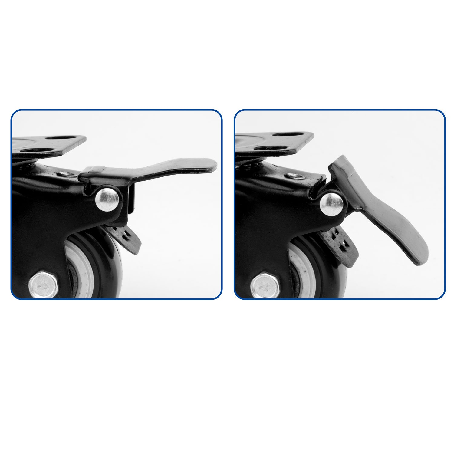 ULIFESTAR 4 PCS 1.5 inch Heavy Duty Caster Wheels Polyurethane PU Rubber Swivel Casters with Top Plate & Strong Bearing Total 400lb Quite Mute Non-Marking Locking Stem Casters Black (1.5'') by Ulifestar (Image #5)