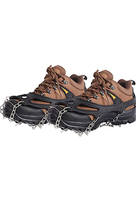 9c3627d4a SMTD Winter Ice Traction Cleats Snow Grips Walking Anti Slip Hiking  Stainless Steel 19 Teeth Spikes