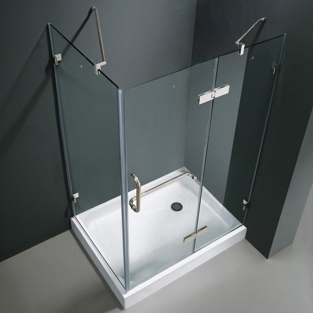VIGO Monteray 32 X 40 In. Frameless Shower Enclosure With .375 In. Clear  Glass And Chrome Hardware (Right Base Included)   Shower Doors   Amazon.com