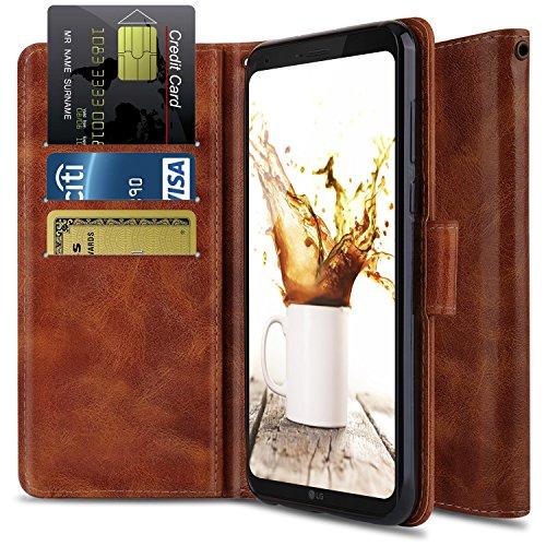 OTOONE LG Q6 Case, LG Q6 Mini Case, LG Q6 Plus Case with Genuine PU Leather [Wrist Strap] Flip Card Holder Wallet Phone Cover for LG Q6+ / Q6A M700N 2017 (Bronze) -