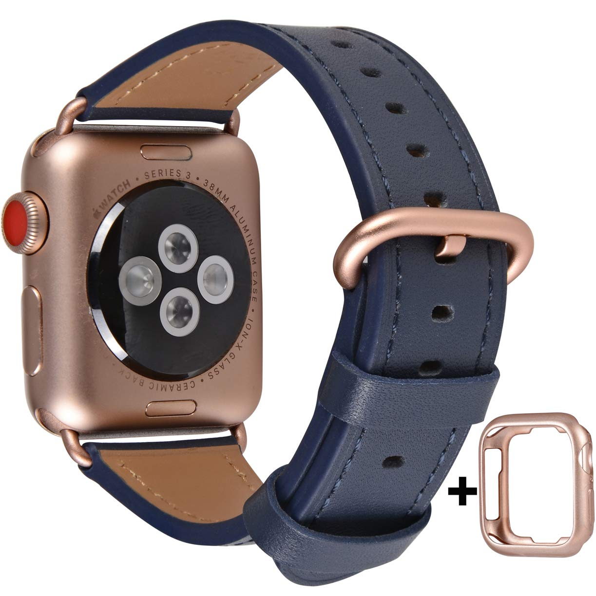 Band For Apple Watch 38 40mm Leather Strap Iwatch 5 4 3 2 1 Navy Blue Rose Gold Ebay