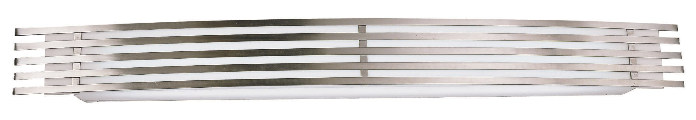 Lighting by AFX BBV217SAMV Bilbao Multi-Volt 17-Watt Wall Sconce, Satin Aluminum Finish with Frosted White Glass