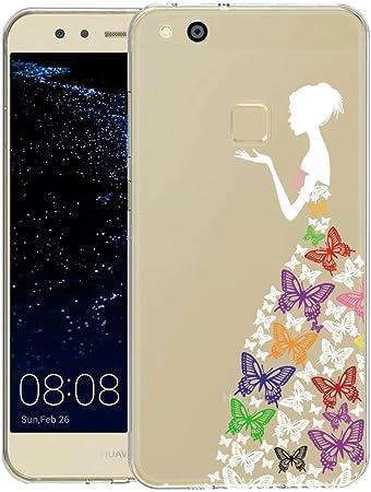 YIGA Huawei P10 Lite Cover Colore Ragazza Farfalla Trasparente Silicone Morbido TPU Case Custodia per Huawei P10 Lite