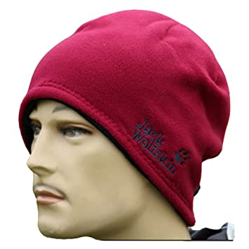 9bed2794394 Jack Wolfskin Men s Cap Hat 2-in-1 Reversible Beanie (wine red)   Amazon.co.uk  Sports   Outdoors