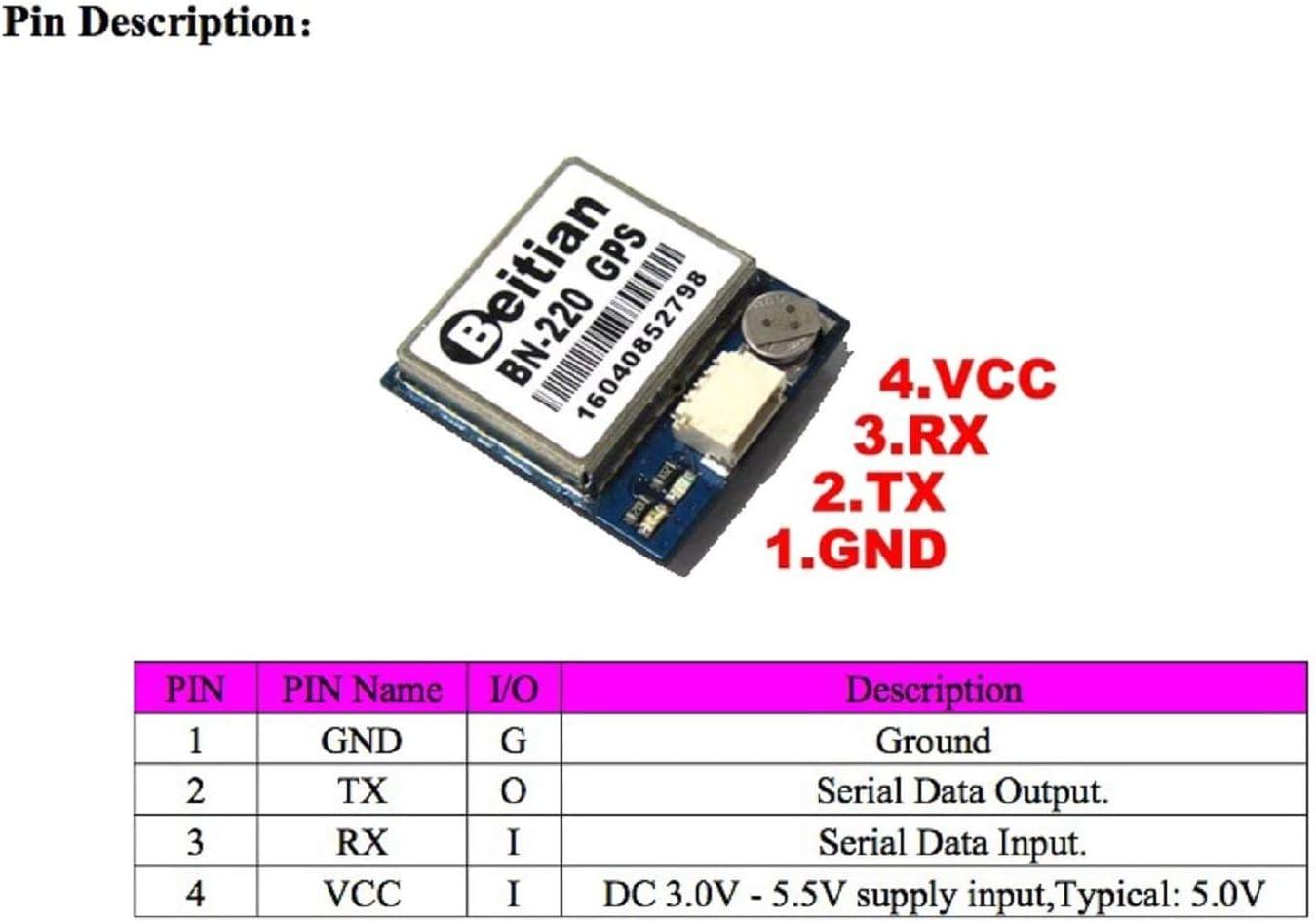 Beitian BN-220 Dual GPS Glonass Module Antenna Built-in LED Flash TTL Level 9600bps 4M Passive Antenna for Arduino Raspberry Pi Pixhawk F3 CC3D Betaflight F4 Flight SKlle