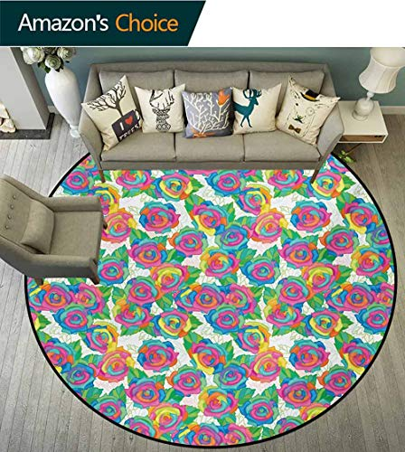 (RUGSMAT Colorful Non-Slip Area Rug Pad Round,Rose Blossoms with Lively Colored Petals Spring Inspired Gardening Bedding Plants Protect Floors While Securing Rug Making Vacuuming,Round-24 Inch)