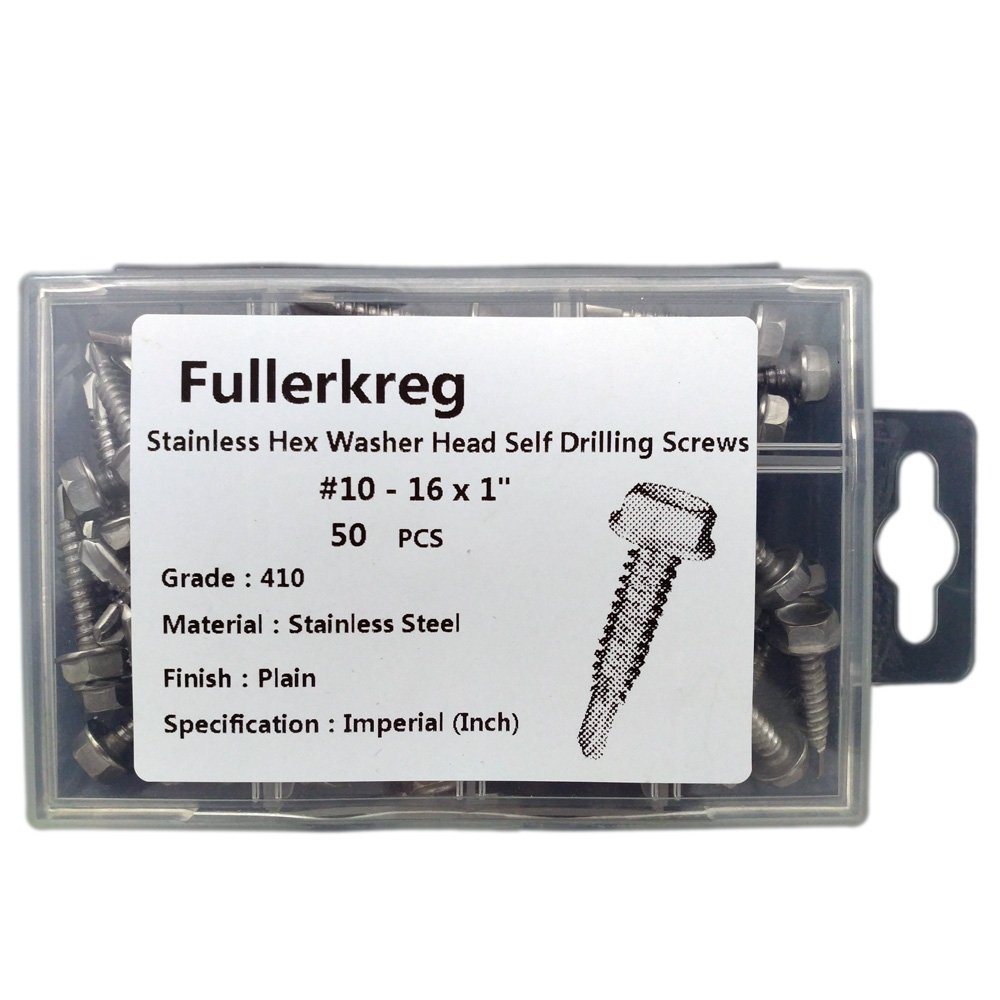 FullerKreg #10 x 1'' Stainless Hex Washer Head Self Drilling Screws, (50 Pack) 410 Stainless Steel,Hex - Unslotted Drive,Self Tapping