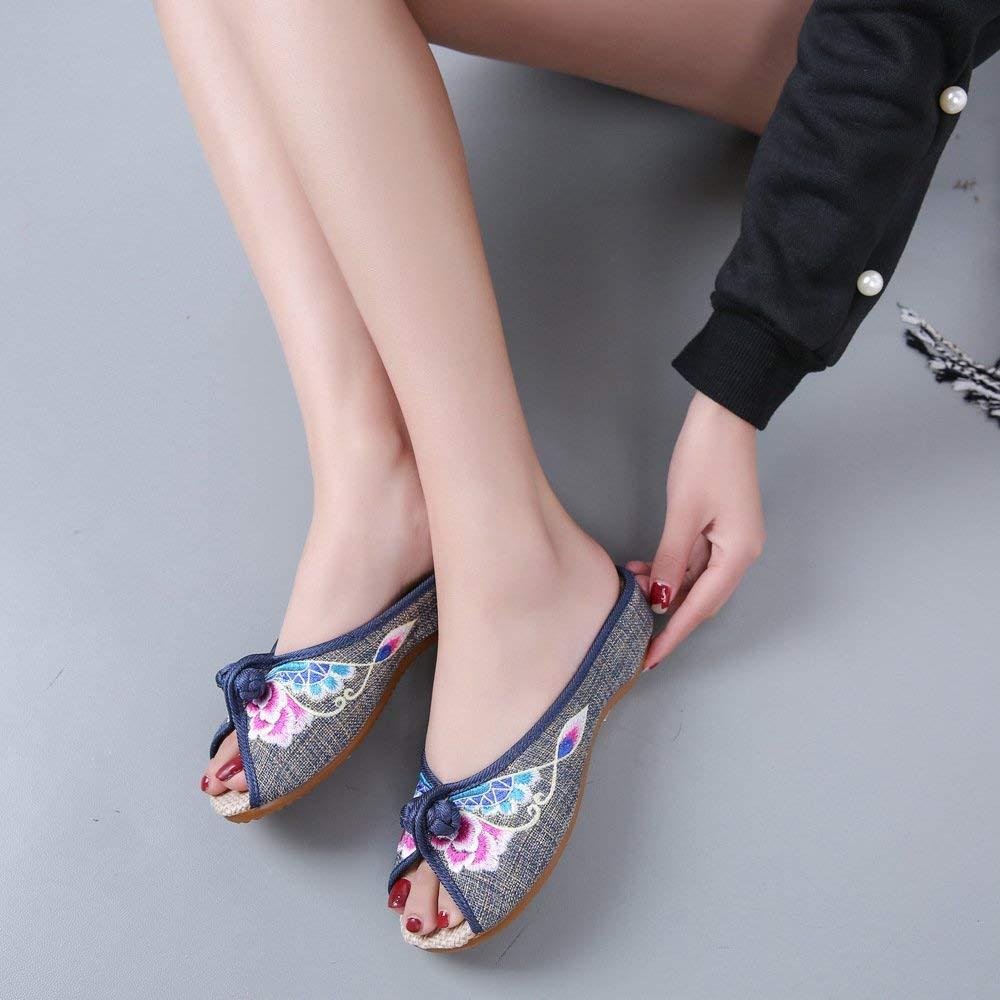 Bestickte Schuhe Sehnensohle ethnischer Stil weiblicher Flip Flop Mode bequem Sandalen grau 40 (Farbe   - Größe   -)