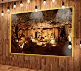 Designart MT12942-48-40-LED Dark Cango Caves South Africa Extra Large African Landscape LED Glossy Metal Wall Art 48x40 LED Backlit,Brown,48x40