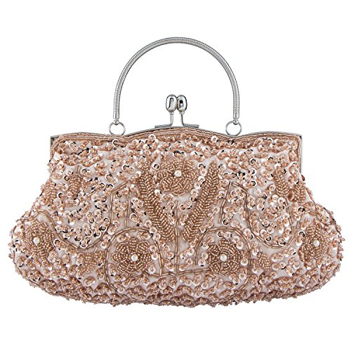 Bagood Women's Vintage Style Beaded Sequined Evening Bag Wedding Party Handbag Clutch (Clutch Style Evening Bag)