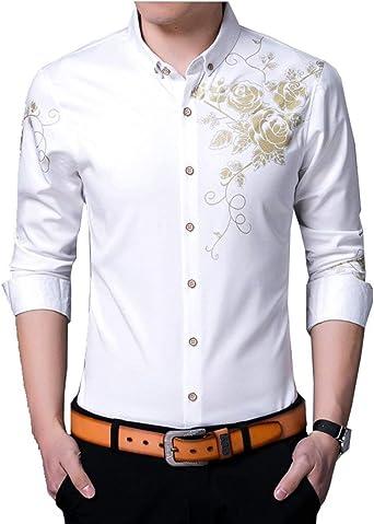 Camisa De Manga Larga con Estampado Camisas Hombre Floral para De Manga Mode De Marca Larga Blusa De Solapa Moda Casual Camisas De Oficina Tops: Amazon.es: Ropa y accesorios