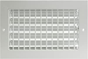 """8""""w X 6""""h Adjustable AIR Supply Diffuser - HVAC Vent Cover Sidewall or Ceiling - Grille Register - High Airflow - White [Outer Dimensions: 9.75""""w X 7.75""""h]"""