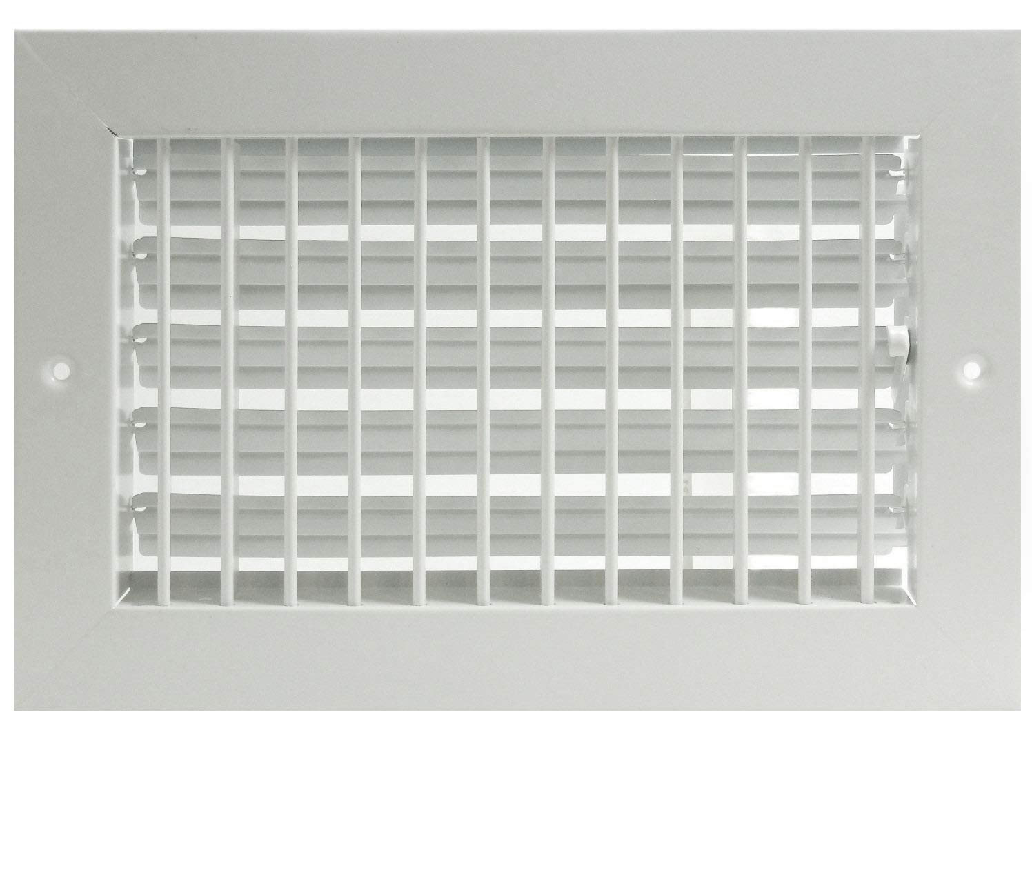 "12""w X 6""h Adjustable AIR Supply Diffuser - HVAC Vent Cover Sidewall or Ceiling - Grille Register - High Airflow - White [Outer Dimensions: 13.75""w X 7.75""h]"