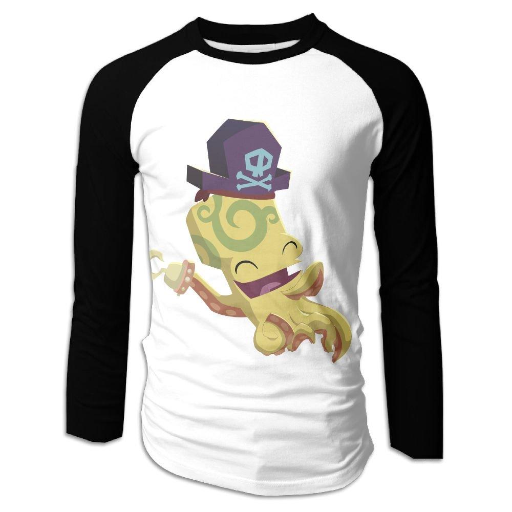 Octopus Skull Casual Novelty Crew Neck Raglan Baseball Shirt Gift 9035