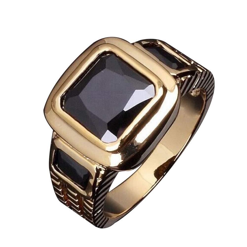 Himpokejg Men's Fashion Square Shape Faux Gemstone Wedding Birthday Band Jewelry Ring - Black US 10 by Himpokejg (Image #1)