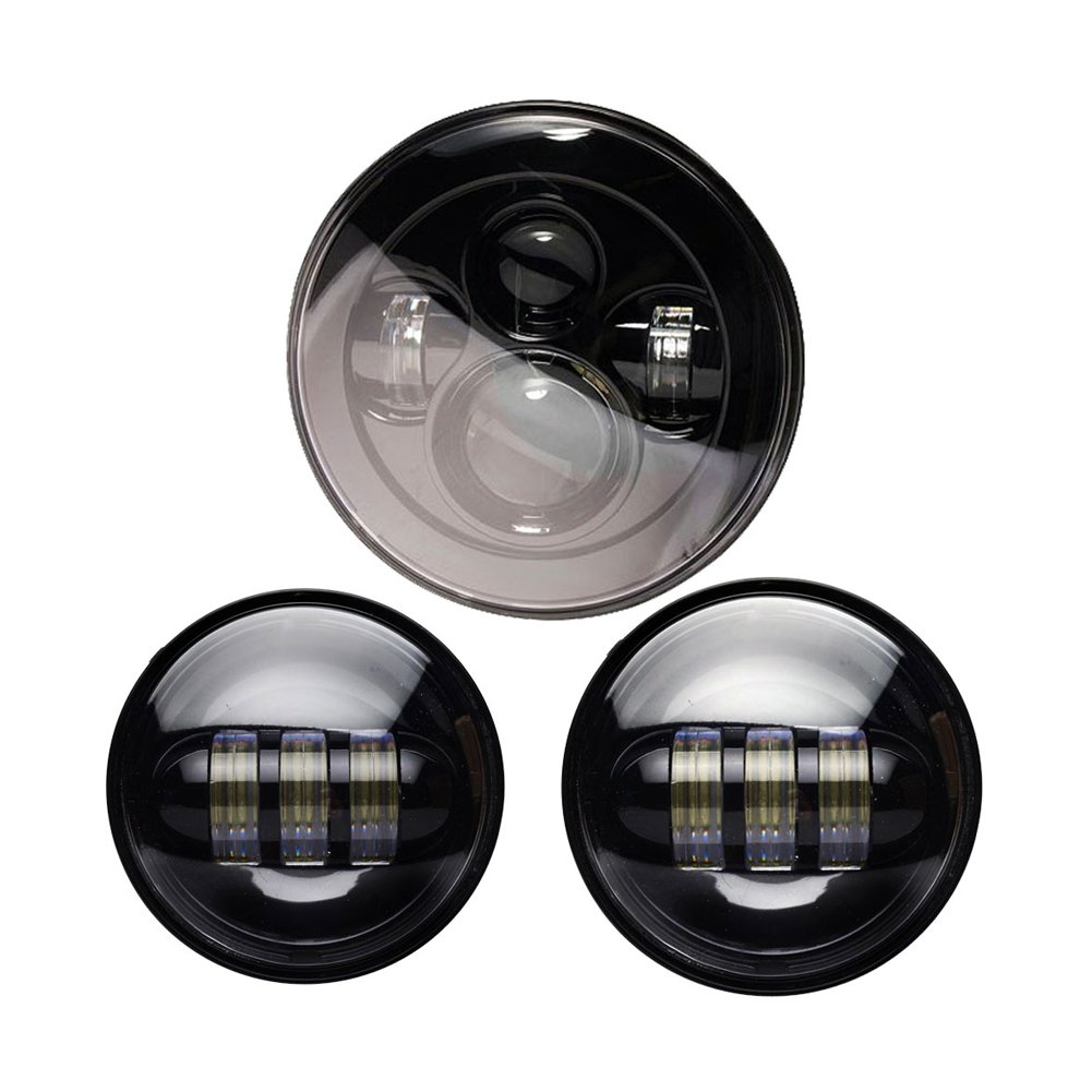 Wisamic 7'' LED Headlight with 2pcs 4-1/2''/4.5'' Fog Lights Passing Lamps Compatible with Road King Ultra Classic Electra Street Glide Tri Cvo Heritage Softail Deluxe Fatboy (Black) by Wisamic (Image #1)