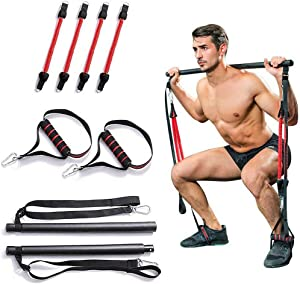 Portable Home Gym Pilates Bar System, Full Body Workout Equipment for Home, Office or Travel, Weightlifting and HIIT Interval Training Kit