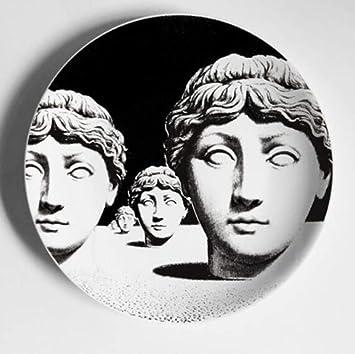 shovv Italie Milan Motif Cr/éatif Piero Fornasetti Assiettes C/éramique Tenture D/écorative Fond Assiette Style Nordique 10 Pouces