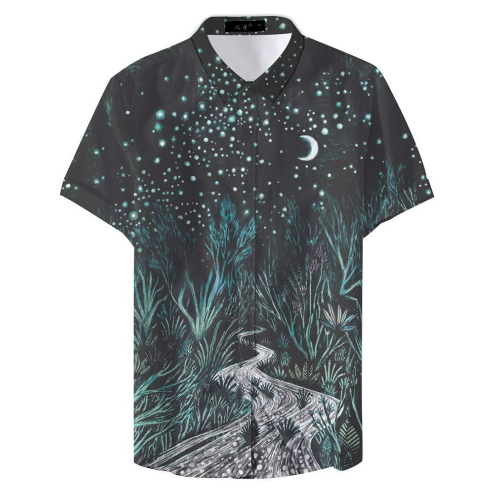 GUJMin Mens Shirt Short Sleeve Slim Print Hawaiian Beach Leisure Vacation Flower Shirt