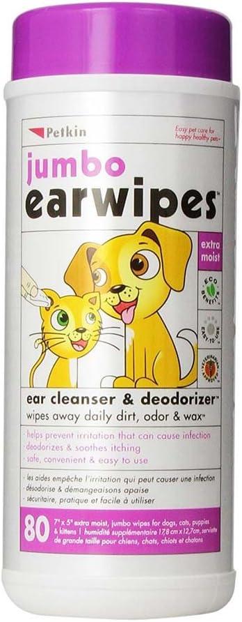 Petkin Jumbo Ear Wipes 80 wipes in a single pack