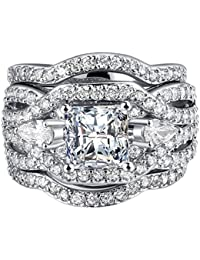 Women 3 PCS Vintage 18K White Gold Plated Wedding Engagement Rings Bridal Sets Princess Cut White CZ Promise Rings for Couples