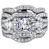 FENDINA Women 3 PCS Vintage 18K White Gold Plated Wedding Engagement Rings Set Princess Cut White CZ Promise Rings for Couples, Size 8