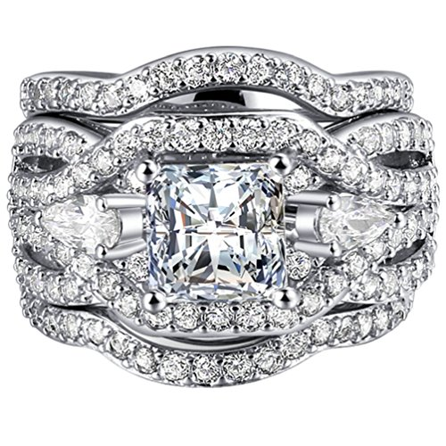FENDINA Women 3 PCS Vintage 18K White Gold Plated Wedding Engagement Rings Set Princess Cut White CZ Promise Rings for Couples, Size 7 (3 Engagement Ring Set)