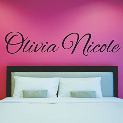 """Fancy Cursive Single Personalized Custom Name Vinyl Wall Art Decal Sticker 45"""" W, Girl Name Decal, Girls Name, Nursery Name, Girls Name Decor, Girls Bedroom Decor, PLUS FREE 12"""" WHITE HELLO DOOR DECAL: Baby"""
