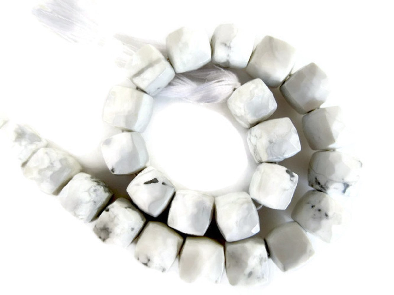 Natural White Howlite Faceted Box Beads, 7mm To 8mm Howlite Beads, Howlite Gemstone beads, Howlite Jewelry, GDS924 (8''x5 Strands, 130pcs)