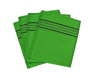 Korean Exfoliating Bath Washcloth [4 pcs] (Green) by TeChef Home