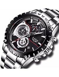 Mens Watches Full Steel Waterproof Sport Analog Quartz Watch Men LIGE Brand Business Black Wristwatch