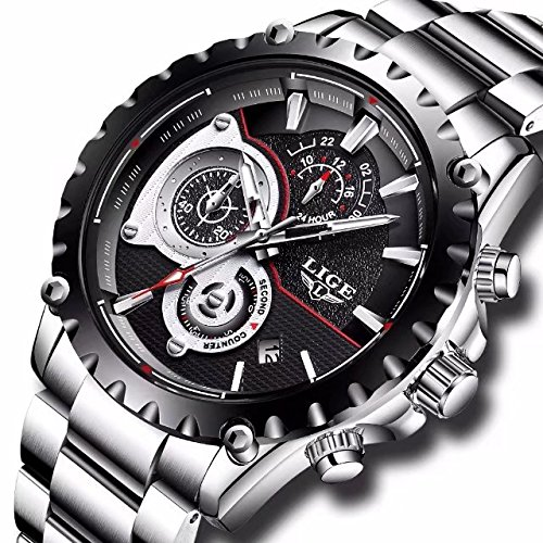 Mens Watches Full Steel Waterproof Sport Analog Quartz Watch Men LIGE Brand Business Black - Black Sale Friday Brands