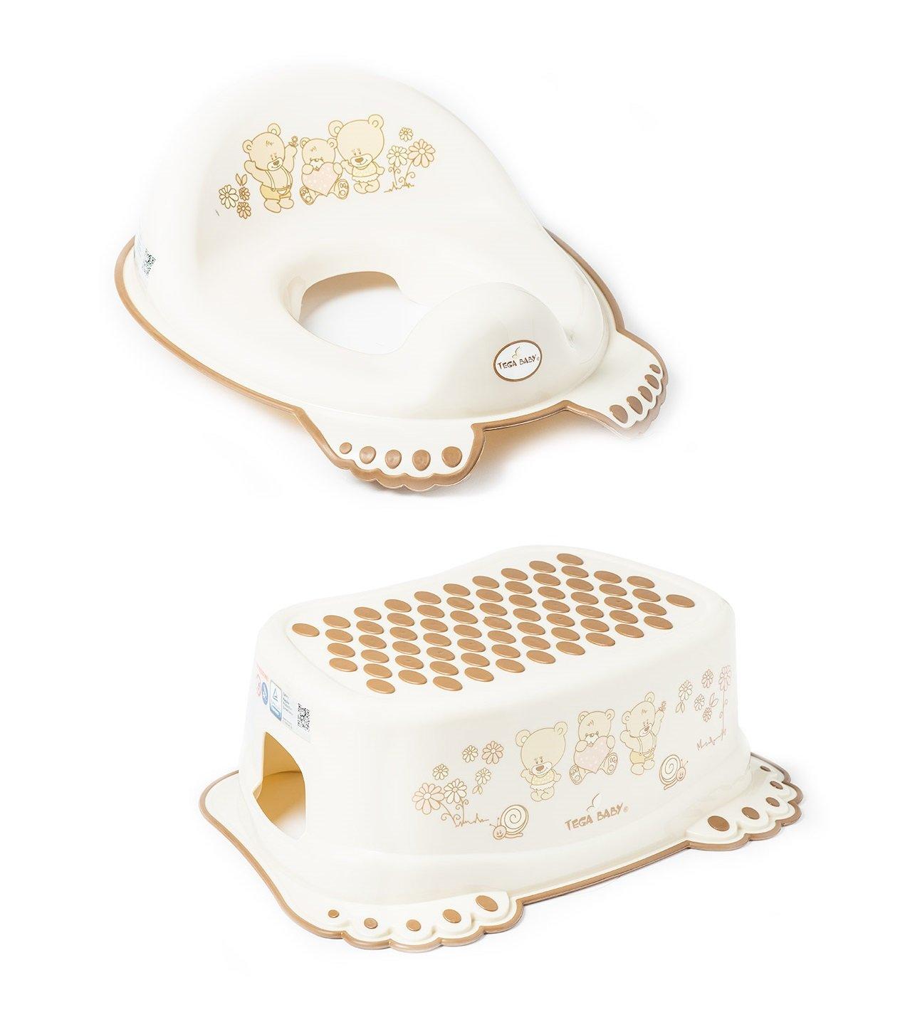 Réducteur de toilette anti-dérapant + marchepied pour évier WC enfant bébé Tega Baby avec thème Ours couleur blanc perle