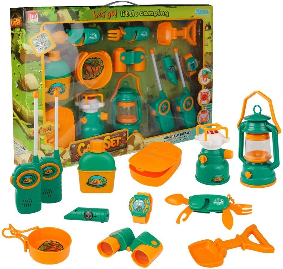 biggroup Pretend Play Camp Toy Set Survival Kit Camping Toy Tools Outdoor Toy for Children Ages 3 To Explore The Wilderness
