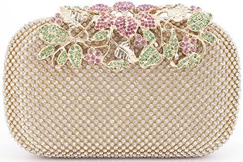 Dexmay Luxury Flower Women Clutch Purse Rhinestone Crystal Evening Bag for Wedding Party Multi Gold