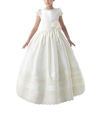 9d103747a7 SAROULU Girl s Short Sleeves First Communion Dresses Flower Girl Dress for Wedding  Ivory