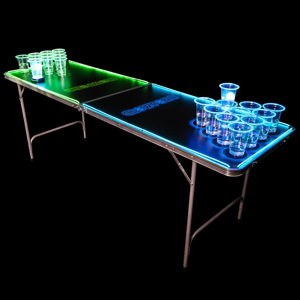 GLOWPONG Glowing Game Table - 6.5' - Green vs Blue by GLOWPONG