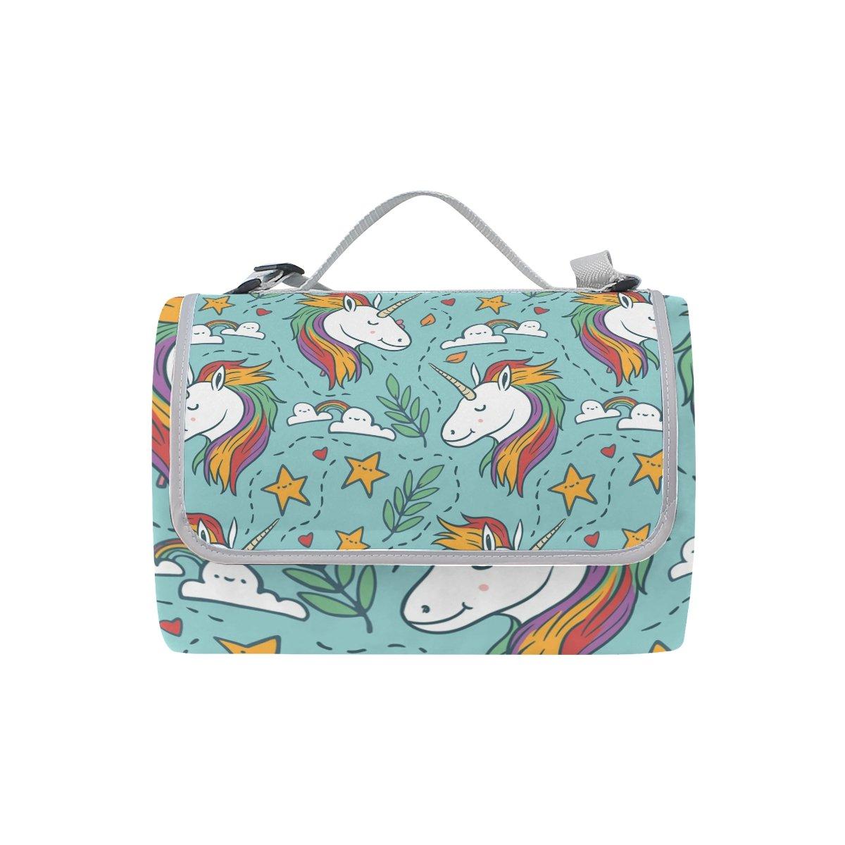 Fengye Cartoon Unicorn Outdoor Handy Picnic Blanket Mat Cover Waterproof Grass Carpets Foldable Tote bag Camping Hiking Beach