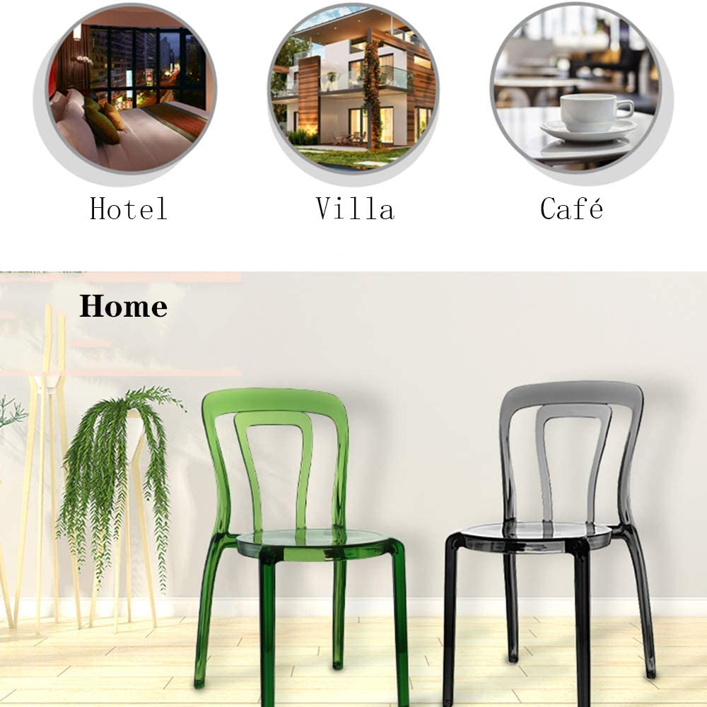 GE&YOBBY Nordic Transparent Chair,plastic Modern Dining Chair,simple Acrylic Bar Chair With Crystal Round Seat For Balcony Leisureoutdoor Hotel Wedding Green A