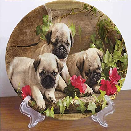 Channing Southey 8 Inch Pug Customized Dinner Plate Sibling Puppies Flowers Round Porcelain Ceramic Plate Decor Accessory For Dining Table Tabletop Party Kitchen Home Decor Amazon Co Uk Kitchen Home