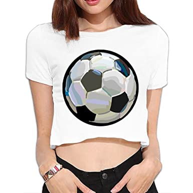 Amazon.com  Women Crop Top Midriff Leisure Round Neck Soccer Short ... d9d3a5b901