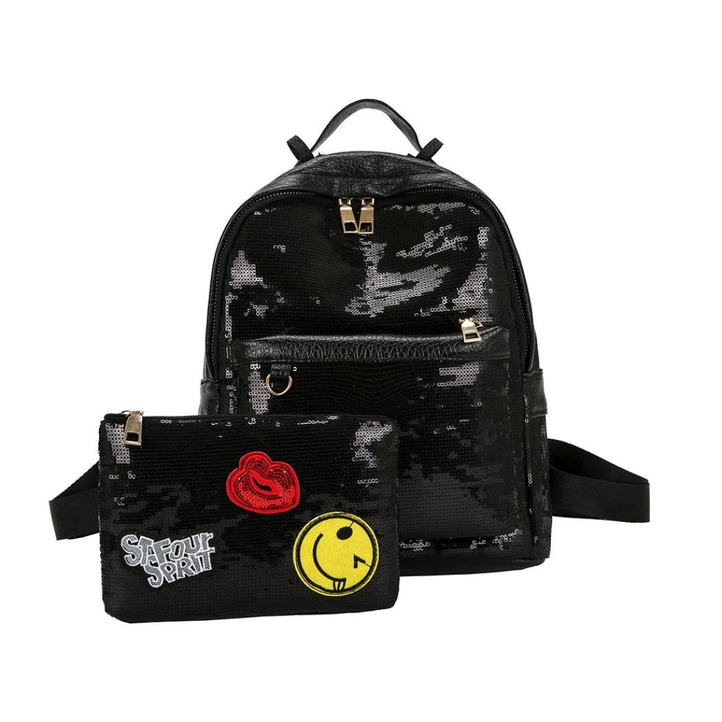 Sumen Bag Women Backpacks,Sumen Teen Girls Fashion Sequins School Backpacks College Bookbag+Small Handbag (Black)