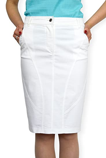 Souvenir-Fashion New Ladies Casual Boutique Knee Length Pencil White Denim  Skirt UK 8 10 12 14 16 18 20 22