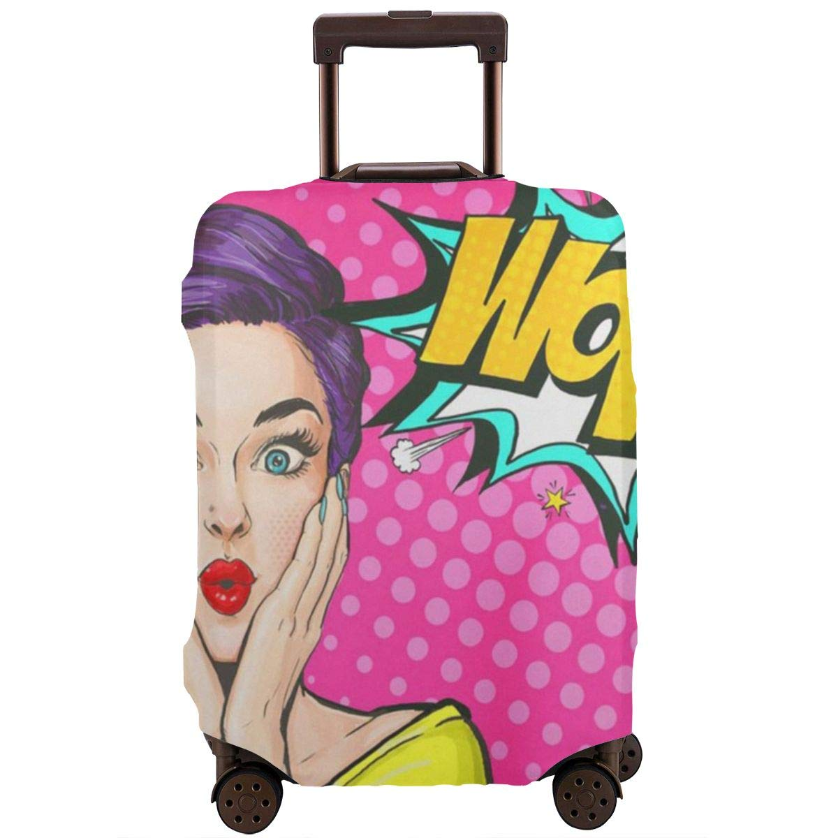 JHNDKJS Girl Comic Woman Wow Party Birthday Romantic Travel Luggage Cover Baggage Suitcase Protector Fit for 12-18 Inch Luggage